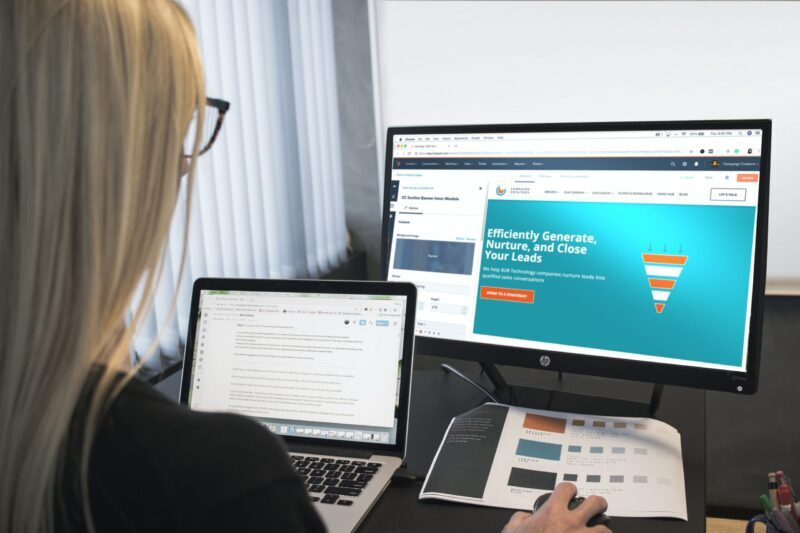 Web Developer working on a website