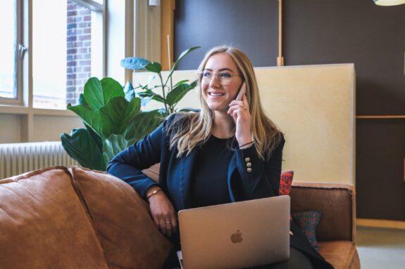 Woman having business phone call