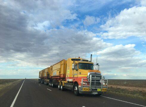 Yellow truck on Winnipeg Highway